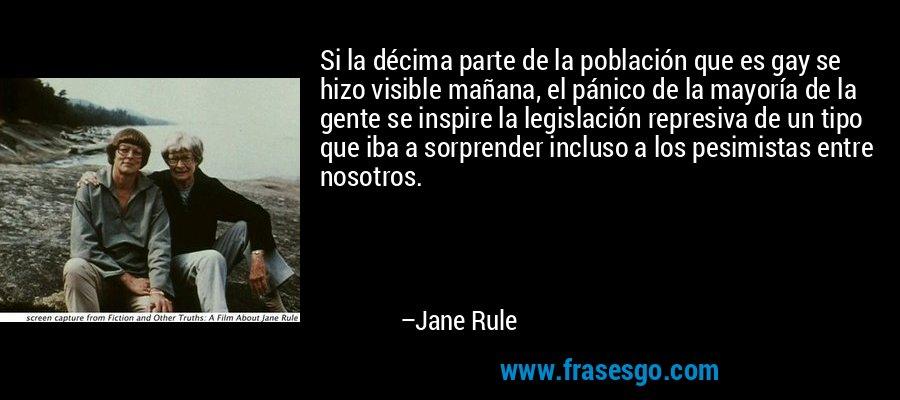 Si la décima parte de la población que es gay se hizo visible mañana, el pánico de la mayoría de la gente se inspire la legislación represiva de un tipo que iba a sorprender incluso a los pesimistas entre nosotros. – Jane Rule