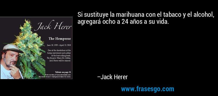 Si sustituye la marihuana con el tabaco y el alcohol, agregará ocho a 24 años a su vida. – Jack Herer