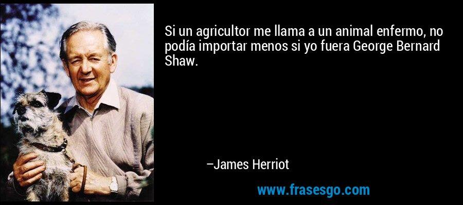 Si un agricultor me llama a un animal enfermo, no podía importar menos si yo fuera George Bernard Shaw. – James Herriot