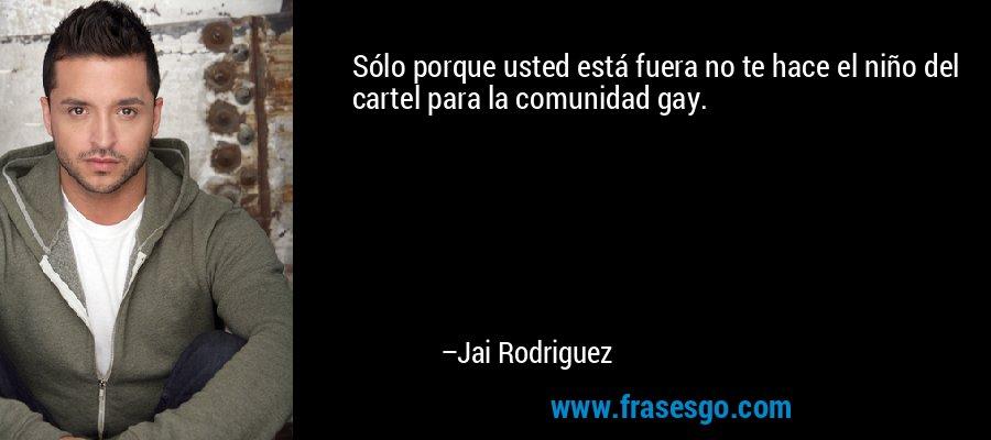 Sólo porque usted está fuera no te hace el niño del cartel para la comunidad gay. – Jai Rodriguez