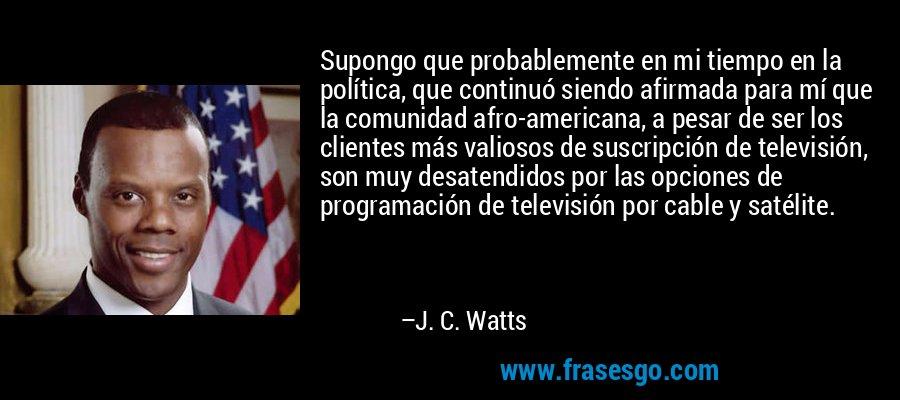 Supongo que probablemente en mi tiempo en la política, que continuó siendo afirmada para mí que la comunidad afro-americana, a pesar de ser los clientes más valiosos de suscripción de televisión, son muy desatendidos por las opciones de programación de televisión por cable y satélite. – J. C. Watts