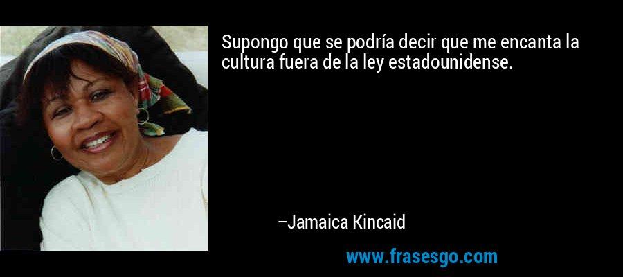 Supongo que se podría decir que me encanta la cultura fuera de la ley estadounidense. – Jamaica Kincaid