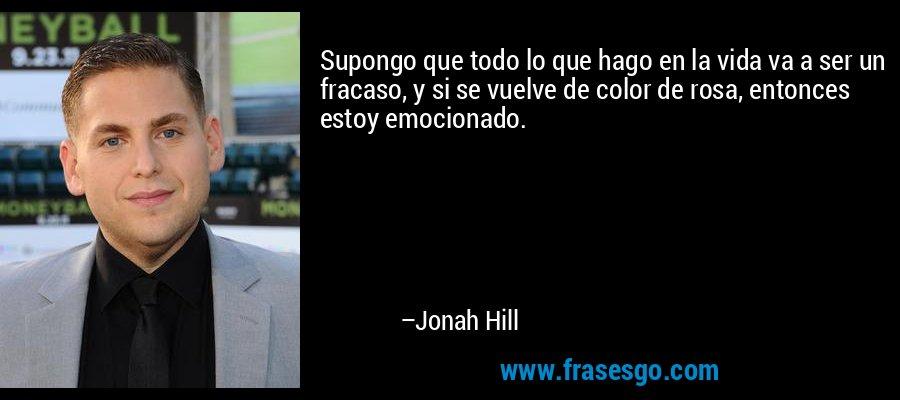 Supongo que todo lo que hago en la vida va a ser un fracaso, y si se vuelve de color de rosa, entonces estoy emocionado. – Jonah Hill