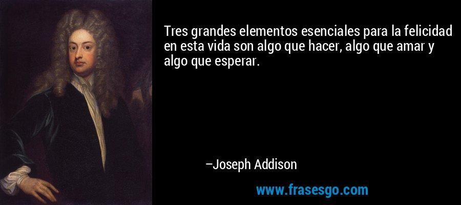 Tres grandes elementos esenciales para la felicidad en esta vida son algo que hacer, algo que amar y algo que esperar. – Joseph Addison