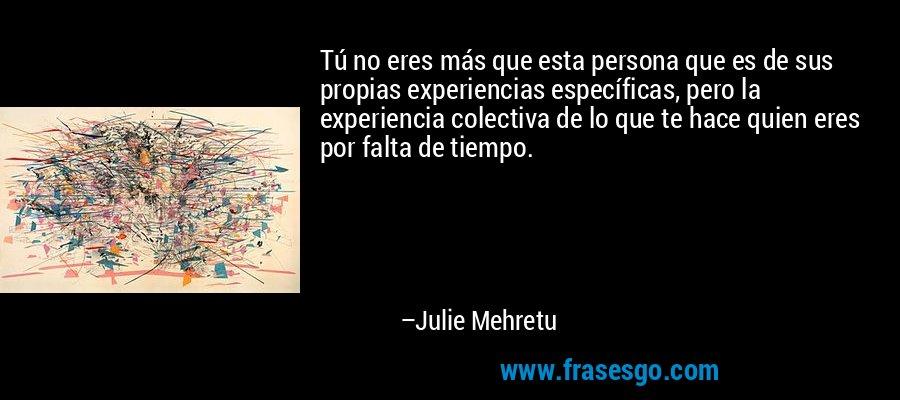 Tú no eres más que esta persona que es de sus propias experiencias específicas, pero la experiencia colectiva de lo que te hace quien eres por falta de tiempo. – Julie Mehretu