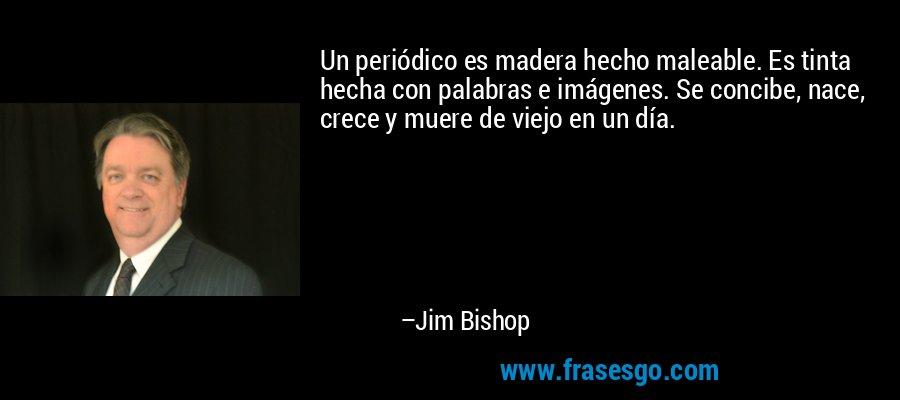 Un periódico es madera hecho maleable. Es tinta hecha con palabras e imágenes. Se concibe, nace, crece y muere de viejo en un día. – Jim Bishop