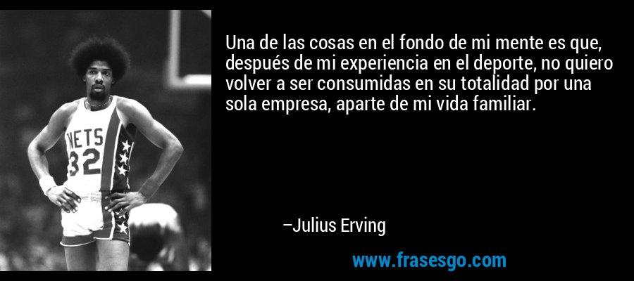 Una de las cosas en el fondo de mi mente es que, después de mi experiencia en el deporte, no quiero volver a ser consumidas en su totalidad por una sola empresa, aparte de mi vida familiar. – Julius Erving