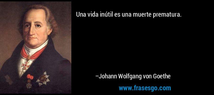 Una vida inútil es una muerte prematura. – Johann Wolfgang von Goethe