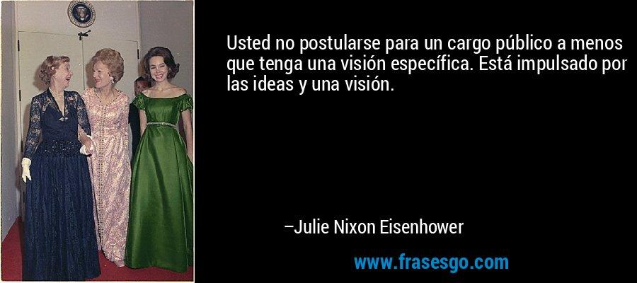 Usted no postularse para un cargo público a menos que tenga una visión específica. Está impulsado por las ideas y una visión. – Julie Nixon Eisenhower