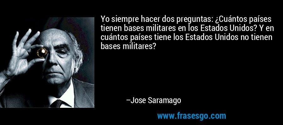 Yo siempre hacer dos preguntas: ¿Cuántos países tienen bases militares en los Estados Unidos? Y en cuántos países tiene los Estados Unidos no tienen bases militares? – Jose Saramago