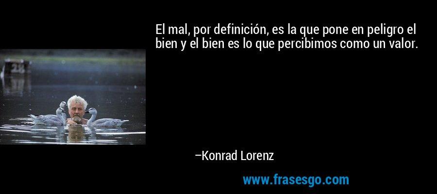 El mal, por definición, es la que pone en peligro el bien y el bien es lo que percibimos como un valor. – Konrad Lorenz