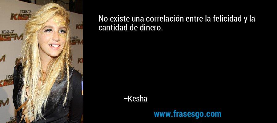 No existe una correlación entre la felicidad y la cantidad de dinero. – Kesha