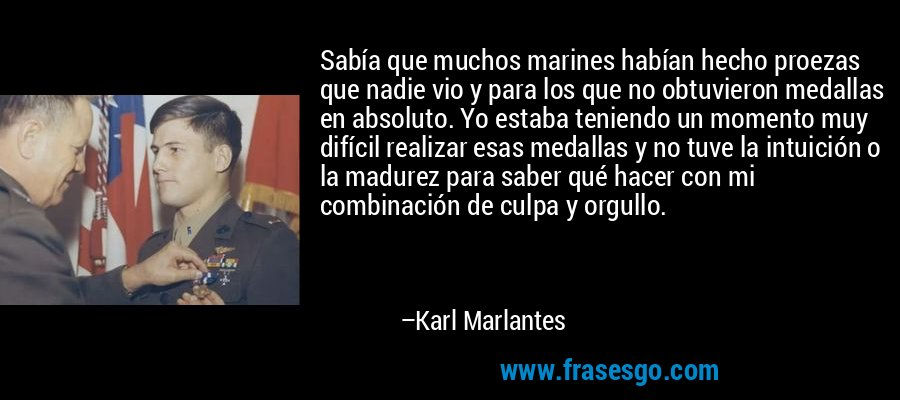 Sabía que muchos marines habían hecho proezas que nadie vio y para los que no obtuvieron medallas en absoluto. Yo estaba teniendo un momento muy difícil realizar esas medallas y no tuve la intuición o la madurez para saber qué hacer con mi combinación de culpa y orgullo. – Karl Marlantes