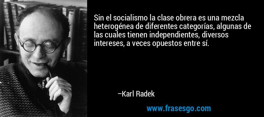 Sin el socialismo la clase obrera es una mezcla heterogénea de diferentes categorías, algunas de las cuales tienen independientes, diversos intereses, a veces opuestos entre sí. – Karl Radek