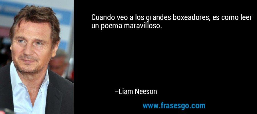 Cuando veo a los grandes boxeadores, es como leer un poema maravilloso. – Liam Neeson
