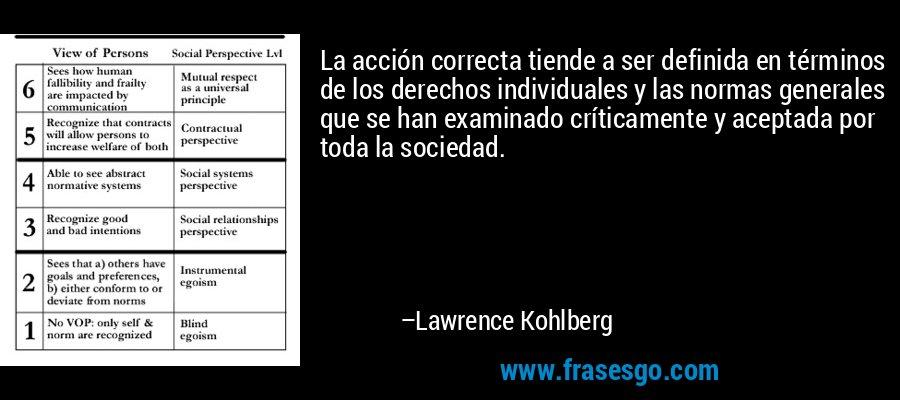 La acción correcta tiende a ser definida en términos de los derechos individuales y las normas generales que se han examinado críticamente y aceptada por toda la sociedad. – Lawrence Kohlberg