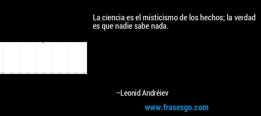 La ciencia es el misticismo de los hechos; la verdad es que nadie sabe nada. – Leonid Andréiev