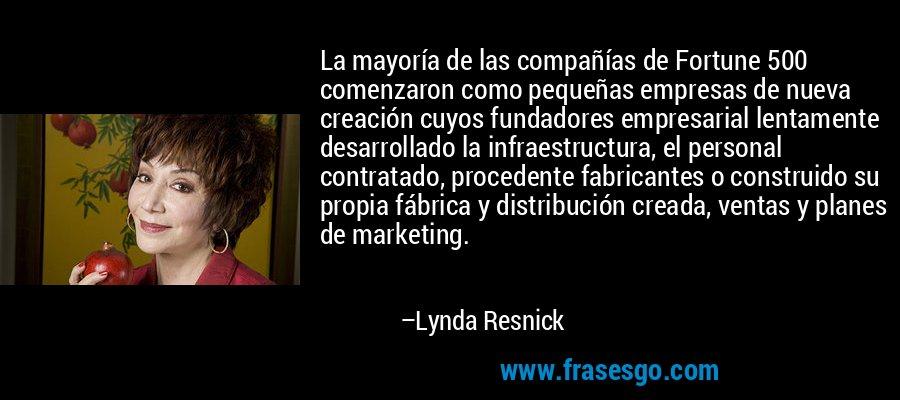 La mayoría de las compañías de Fortune 500 comenzaron como pequeñas empresas de nueva creación cuyos fundadores empresarial lentamente desarrollado la infraestructura, el personal contratado, procedente fabricantes o construido su propia fábrica y distribución creada, ventas y planes de marketing. – Lynda Resnick