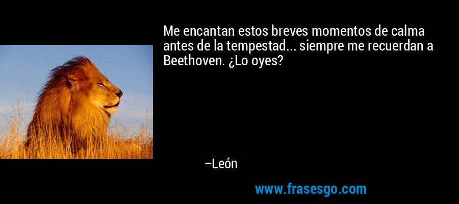 Me encantan estos breves momentos de calma antes de la tempestad... siempre me recuerdan a Beethoven. ¿Lo oyes? – León
