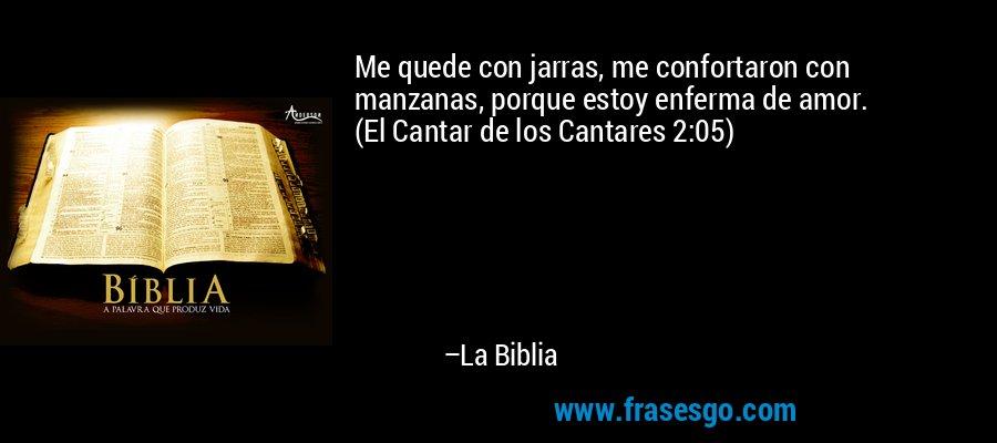 Me quede con jarras, me confortaron con manzanas, porque estoy enferma de amor. (El Cantar de los Cantares 2:05) – La Biblia