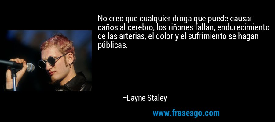 No creo que cualquier droga que puede causar daños al cerebro, los riñones fallan, endurecimiento de las arterias, el dolor y el sufrimiento se hagan públicas. – Layne Staley