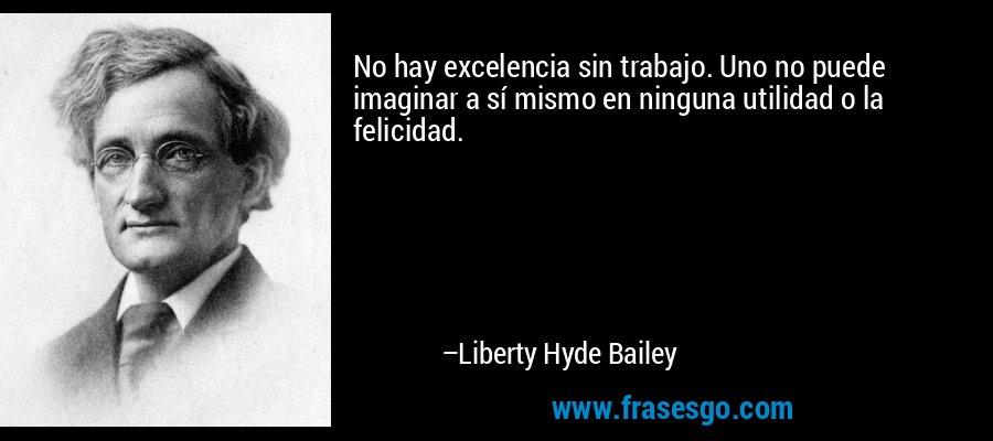 No hay excelencia sin trabajo. Uno no puede imaginar a sí mismo en ninguna utilidad o la felicidad. – Liberty Hyde Bailey