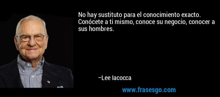 No hay sustituto para el conocimiento exacto. Conócete a ti mismo, conoce su negocio, conocer a sus hombres. – Lee Iacocca