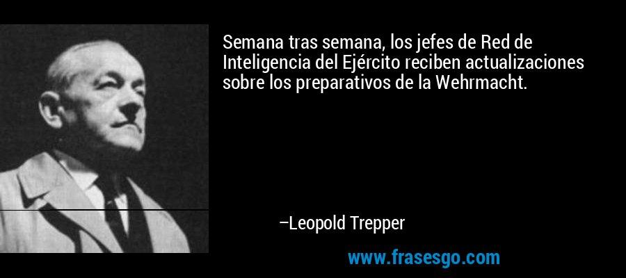 Semana tras semana, los jefes de Red de Inteligencia del Ejército reciben actualizaciones sobre los preparativos de la Wehrmacht. – Leopold Trepper