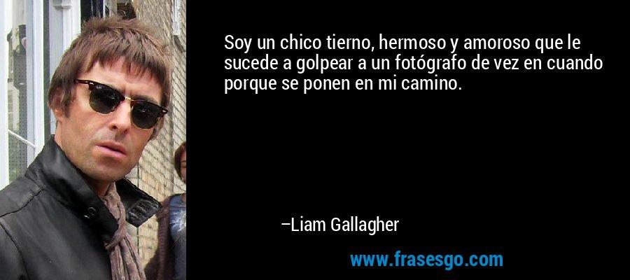 Soy un chico tierno, hermoso y amoroso que le sucede a golpear a un fotógrafo de vez en cuando porque se ponen en mi camino. – Liam Gallagher
