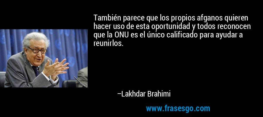 También parece que los propios afganos quieren hacer uso de esta oportunidad y todos reconocen que la ONU es el único calificado para ayudar a reunirlos. – Lakhdar Brahimi