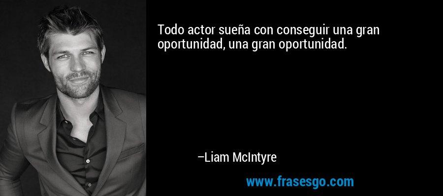 Todo actor sueña con conseguir una gran oportunidad, una gran oportunidad. – Liam McIntyre