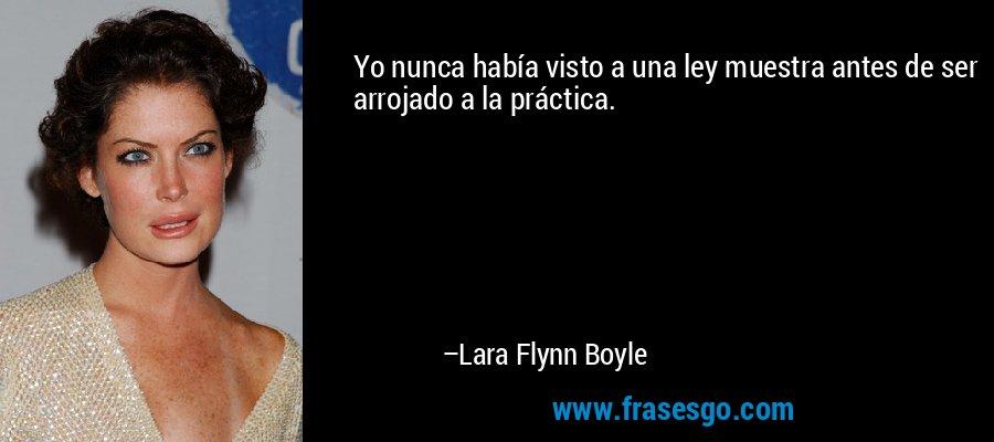 Yo nunca había visto a una ley muestra antes de ser arrojado a la práctica. – Lara Flynn Boyle