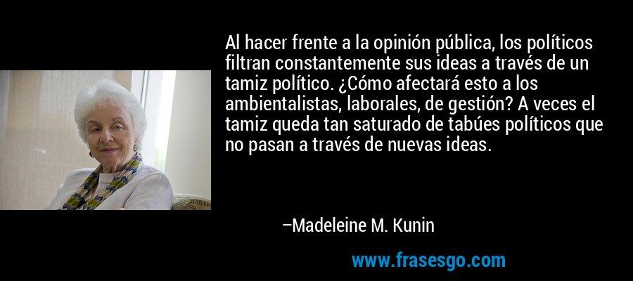 Al hacer frente a la opinión pública, los políticos filtran constantemente sus ideas a través de un tamiz político. ¿Cómo afectará esto a los ambientalistas, laborales, de gestión? A veces el tamiz queda tan saturado de tabúes políticos que no pasan a través de nuevas ideas. – Madeleine M. Kunin