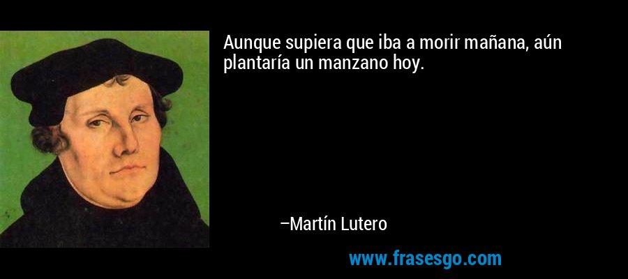 Aunque supiera que iba a morir mañana, aún plantaría un manzano hoy. – Martín Lutero
