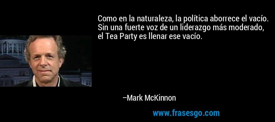 Como en la naturaleza, la política aborrece el vacío. Sin una fuerte voz de un liderazgo más moderado, el Tea Party es llenar ese vacío. – Mark McKinnon