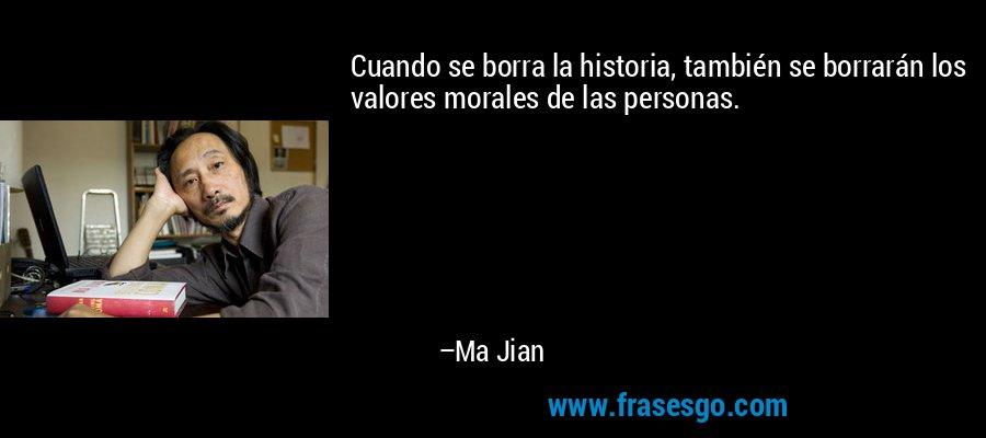 Cuando se borra la historia, también se borrarán los valores morales de las personas. – Ma Jian
