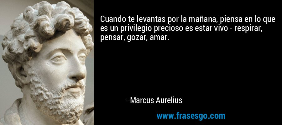 Cuando te levantas por la mañana, piensa en lo que es un privilegio precioso es estar vivo - respirar, pensar, gozar, amar. – Marcus Aurelius