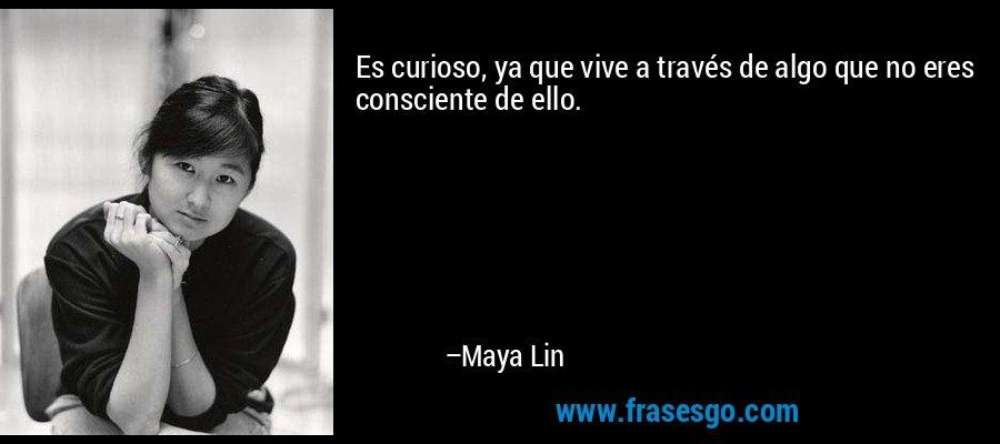Es curioso, ya que vive a través de algo que no eres consciente de ello. – Maya Lin