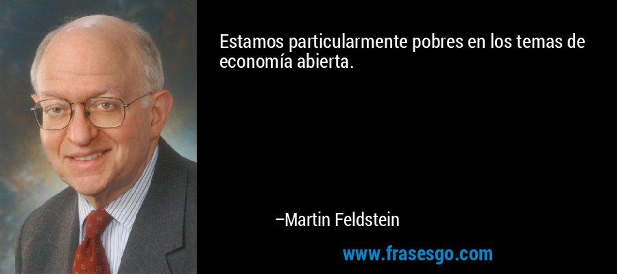 Estamos particularmente pobres en los temas de economía abierta. – Martin Feldstein