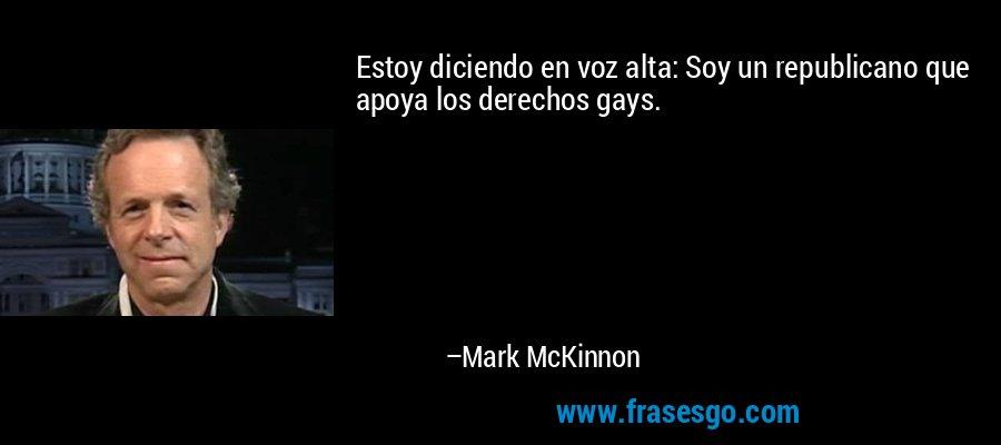 Estoy diciendo en voz alta: Soy un republicano que apoya los derechos gays. – Mark McKinnon