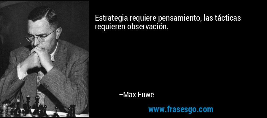 Estrategia requiere pensamiento, las tácticas requieren observación. – Max Euwe