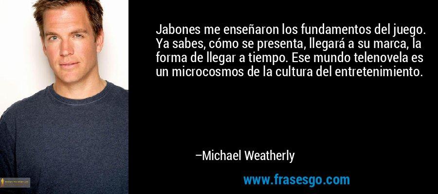 Jabones me enseñaron los fundamentos del juego. Ya sabes, cómo se presenta, llegará a su marca, la forma de llegar a tiempo. Ese mundo telenovela es un microcosmos de la cultura del entretenimiento. – Michael Weatherly