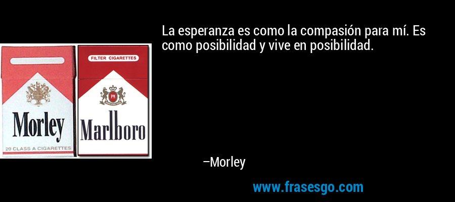 La esperanza es como la compasión para mí. Es como posibilidad y vive en posibilidad. – Morley