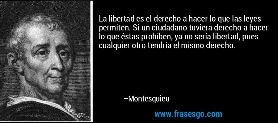 La libertad es el derecho a hacer lo que las leyes permiten. Si un ciudadano tuviera derecho a hacer lo que éstas prohíben, ya no sería libertad, pues cualquier otro tendría el mismo derecho. – Montesquieu