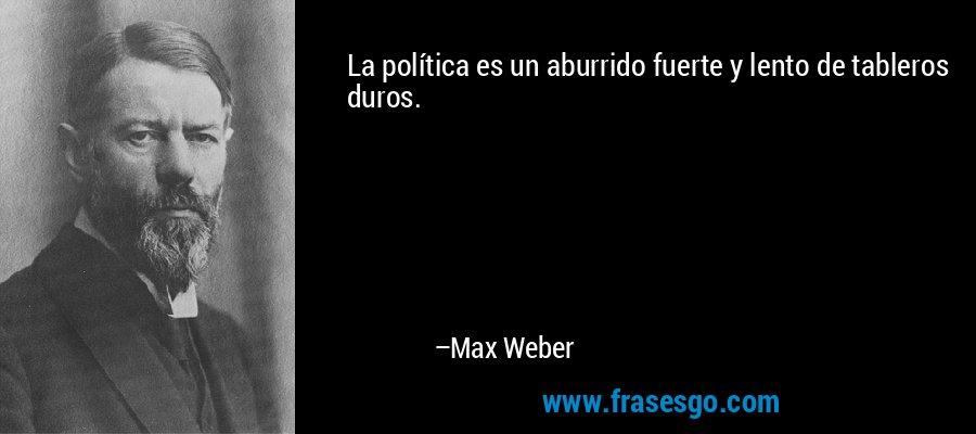 La política es un aburrido fuerte y lento de tableros duros. – Max Weber