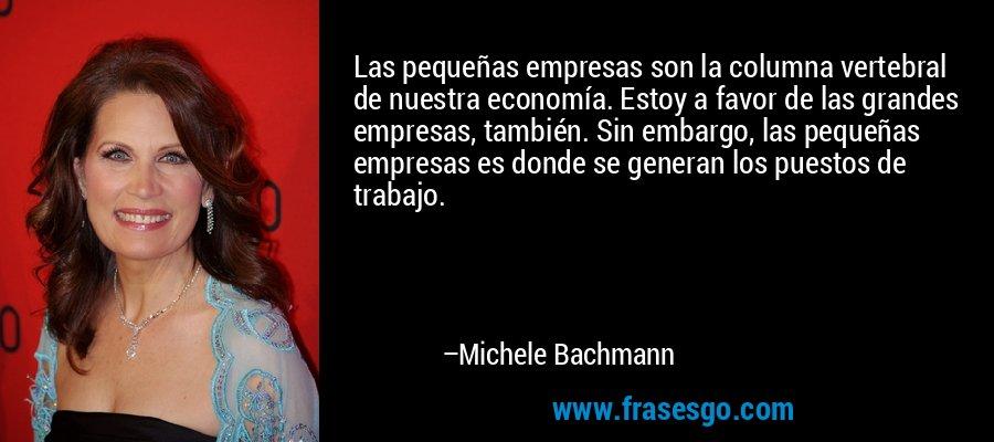 Las pequeñas empresas son la columna vertebral de nuestra economía. Estoy a favor de las grandes empresas, también. Sin embargo, las pequeñas empresas es donde se generan los puestos de trabajo. – Michele Bachmann