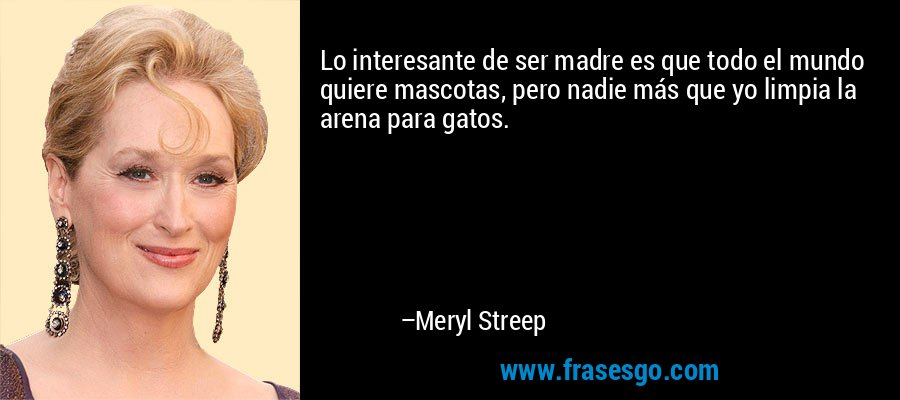 Lo interesante de ser madre es que todo el mundo quiere mascotas, pero nadie más que yo limpia la arena para gatos. – Meryl Streep