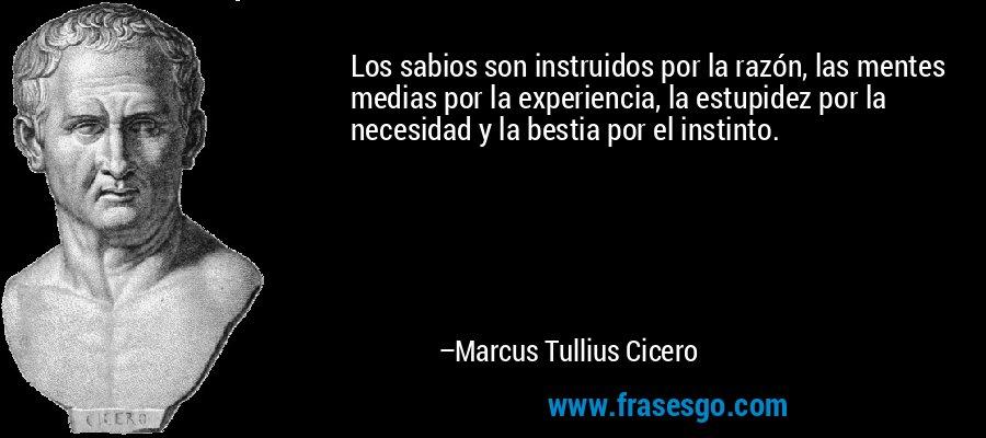 Los sabios son instruidos por la razón, las mentes medias por la experiencia, la estupidez por la necesidad y la bestia por el instinto. – Marcus Tullius Cicero