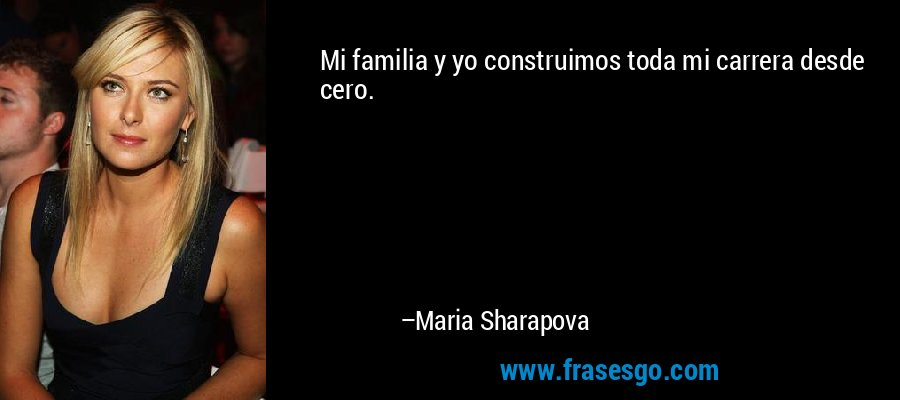 Mi familia y yo construimos toda mi carrera desde cero. – Maria Sharapova