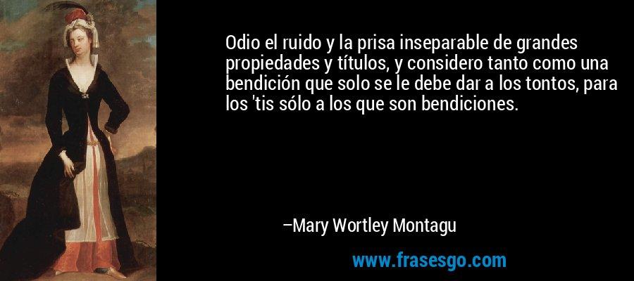 Odio el ruido y la prisa inseparable de grandes propiedades y títulos, y considero tanto como una bendición que solo se le debe dar a los tontos, para los 'tis sólo a los que son bendiciones. – Mary Wortley Montagu